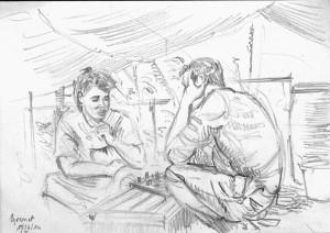 Wily et François aux échecs (Croquis Michel Grenet)